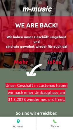 Vorschau der mobilen Webseite www.m-music.at, African Percussion Vertriebs-GmbH