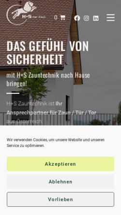 Vorschau der mobilen Webseite www.hs-zaun.at, H+S Zauntechnik Ges.m.b.H. A-8074 Raaba