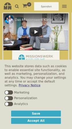 Vorschau der mobilen Webseite www.missionswerk.de, Missionswerk Karlsruhe