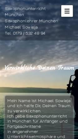 Vorschau der mobilen Webseite www.saxophonunterricht-muenchen.de, Saxophonlehrer München