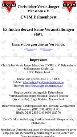 Vorschau der mobilen Webseite www.cvjm-delmenhorst.de, CVJM Delmenhorst