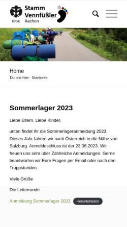 Vorschau der mobilen Webseite www.vennfuessler.de, Deutsche Pfadfinderschaft Sankt Georg (DPSG) - Stamm Vennfüßler