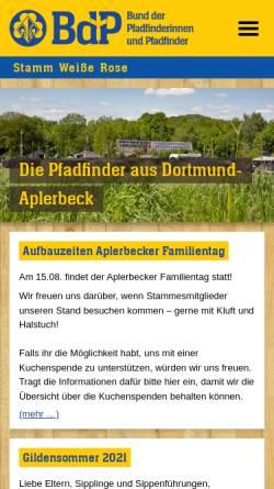 Vorschau der mobilen Webseite www.pfadfinder-dortmund.de, Bund der Pfadfinderinnen und Pfadfinder e.V. (BdP) - Stamm Weiße Rose