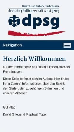 Vorschau der mobilen Webseite www.dpsg-essen-bofro.de, Deutsche Pfadfinderschaft Sankt Georg (DPSG) - Bezirk Essen Borbeck-Frohnhausen