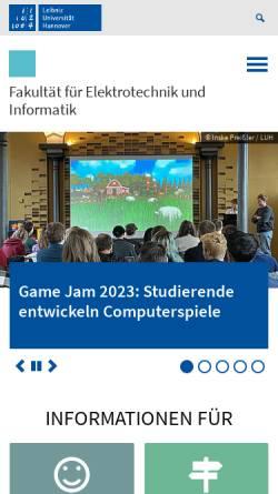 Vorschau der mobilen Webseite www.inf.uni-hannover.de, Bereich Informatik