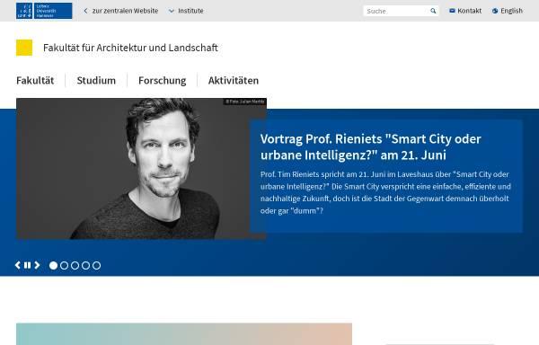 Vorschau von www.archland.uni-hannover.de, Fakultät für Architektur und Landschaft