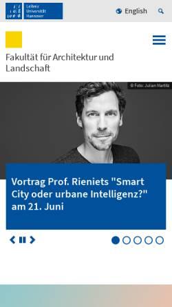 Vorschau der mobilen Webseite www.archland.uni-hannover.de, Fakultät für Architektur und Landschaft