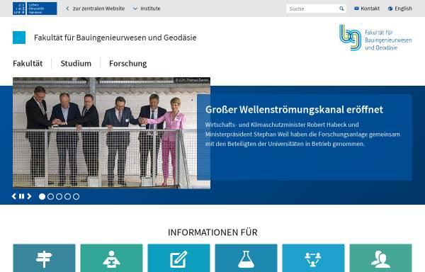 Vorschau von www.fbg.uni-hannover.de, Fakultät für Bauingenieurwesen und Geodäsie