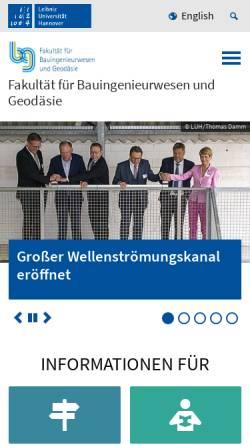 Vorschau der mobilen Webseite www.fbg.uni-hannover.de, Fakultät für Bauingenieurwesen und Geodäsie