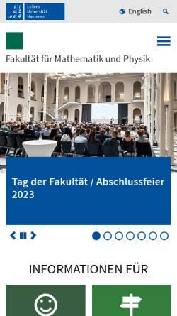 Vorschau der mobilen Webseite www.maphy.uni-hannover.de, Fakultät für Mathematik und Physik