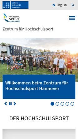 Vorschau der mobilen Webseite www.hochschulsport-hannover.de, Hochschulsport Hannover