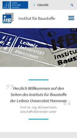 Vorschau der mobilen Webseite www.institut-fuer-baustoffe.de, Institut für Baustoffe