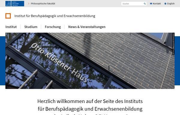 Vorschau von www.ifbe.uni-hannover.de, Institut für Berufspädagogik und Erwachsenenbildung