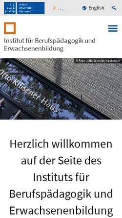 Vorschau der mobilen Webseite www.ifbe.uni-hannover.de, Institut für Berufspädagogik und Erwachsenenbildung