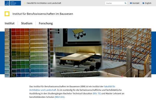 Vorschau von www.ibw.uni-hannover.de, Institut für Berufswissenschaften im Bauwesen (IBW)