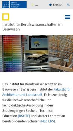Vorschau der mobilen Webseite www.ibw.uni-hannover.de, Institut für Berufswissenschaften im Bauwesen (IBW)