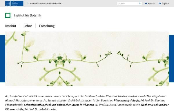 Vorschau von www.botanik.uni-hannover.de, Institut für Botanik