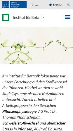 Vorschau der mobilen Webseite www.botanik.uni-hannover.de, Institut für Botanik