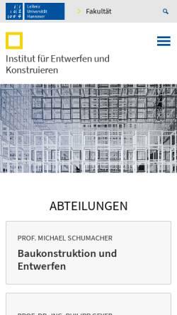 Vorschau der mobilen Webseite www.iek.uni-hannover.de, Institut für Entwerfen und Konstruieren