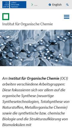 Vorschau der mobilen Webseite www.oci.uni-hannover.de, Institut für Organische Chemie