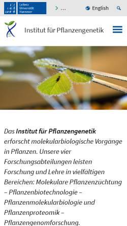 Vorschau der mobilen Webseite www.genetik.uni-hannover.de, Institut für Pflanzengenetik