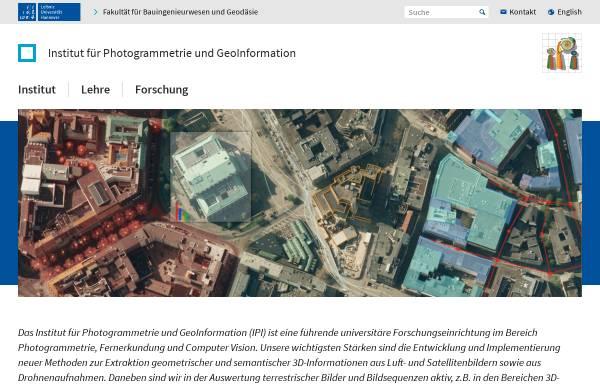 Vorschau von www.ipi.uni-hannover.de, Institut für Photogrammetrie und GeoInformation