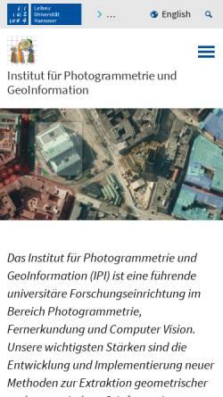 Vorschau der mobilen Webseite www.ipi.uni-hannover.de, Institut für Photogrammetrie und GeoInformation