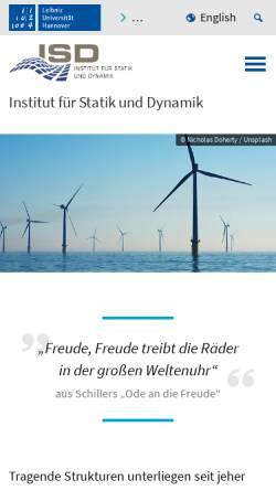 Vorschau der mobilen Webseite www.isd.uni-hannover.de, Institut für Statik und Dynamik