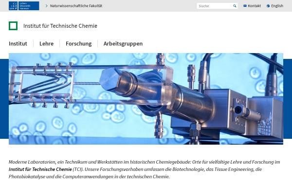 Vorschau von www.tci.uni-hannover.de, Institut für Technische Chemie