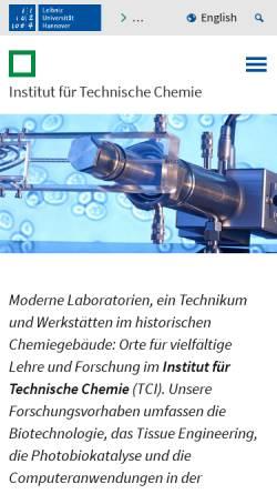 Vorschau der mobilen Webseite www.tci.uni-hannover.de, Institut für Technische Chemie