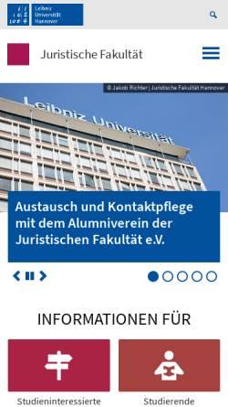 Vorschau der mobilen Webseite www.jura.uni-hannover.de, Juristische Fakultät
