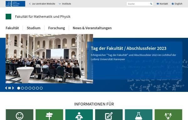 Vorschau von www.math.uni-hannover.de, Mathematik an der Fakultät für Mathematik und Physik