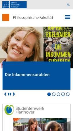 Vorschau der mobilen Webseite www.phil.uni-hannover.de, Philosophische Fakultät