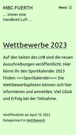 Vorschau der mobilen Webseite www.mbc-fuerth.de, Modellbauclub Fuerth