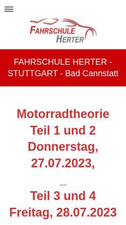 Vorschau der mobilen Webseite www.fahrschule-herter-stuttgart.de, Fahrschule Roland Herter