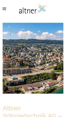 Vorschau der mobilen Webseite www.altner.ch, Altner AG Wärmetechnik