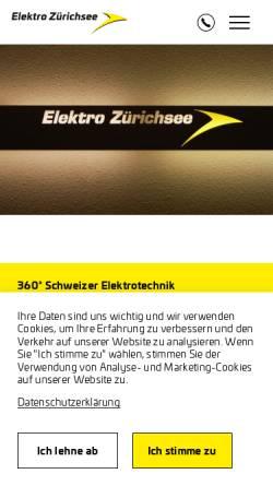 Vorschau der mobilen Webseite www.elektro-zuerichsee.ch, Elektro Zürichsee AG