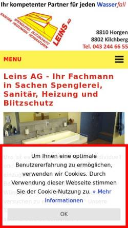 Vorschau der mobilen Webseite www.leinsag.ch, Leins AG