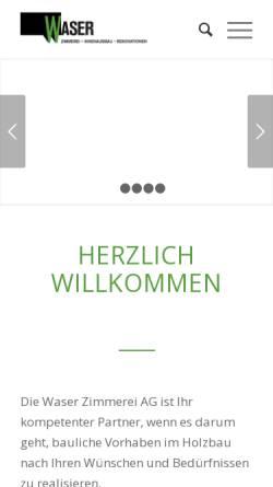 Vorschau der mobilen Webseite www.waser-zimmerei.ch, Zimmerei Waser