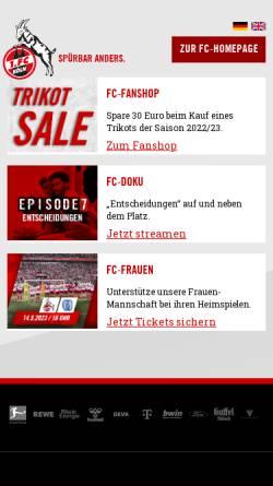 Vorschau der mobilen Webseite fc.de, 1. FC Köln
