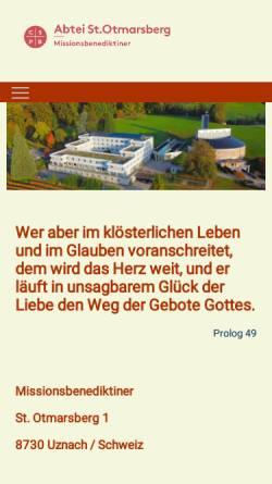 Vorschau der mobilen Webseite www.abtei-uznach.ch, Abtei St. Otmarsberg