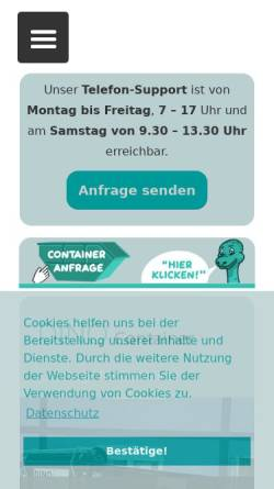 Vorschau der mobilen Webseite www.dino-container.de, Dino Containerdienst Berlin GmbH