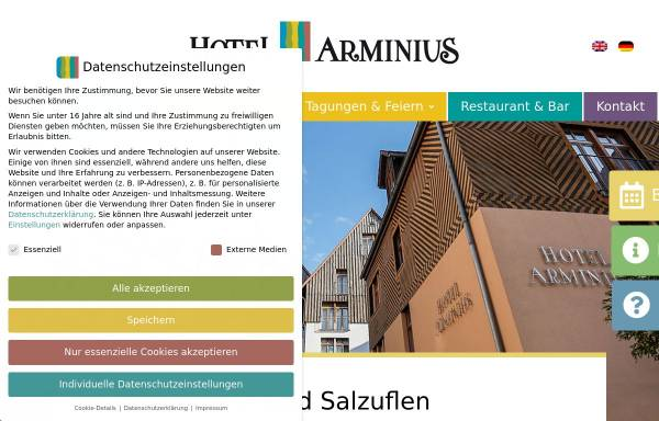 Vorschau von www.hotelarminius.de, Hotel Arminius