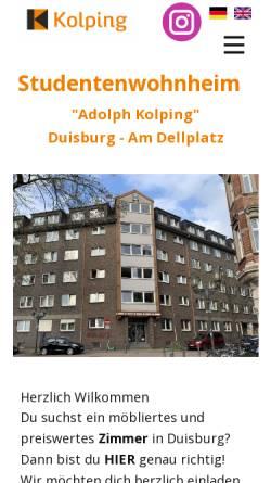 Vorschau der mobilen Webseite studentenwohnheim.dellplatz.de, Studentenwohnheim Adolph Kolping