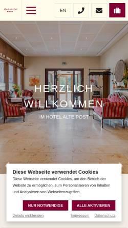 Vorschau der mobilen Webseite www.alte-post-krefeld.de, Hotel Alte Post