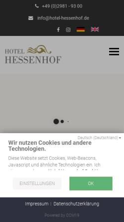 Vorschau der mobilen Webseite www.hotel-hessenhof.de, Hotel Hessenhof