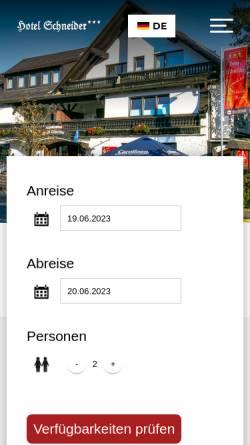 Vorschau der mobilen Webseite www.hotel-schneider-winterberg.de, Hotel Schneider