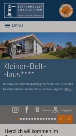 Vorschau der mobilen Webseite www.ostseeferiendorf.de, Strandhäuser am Leuchtturm