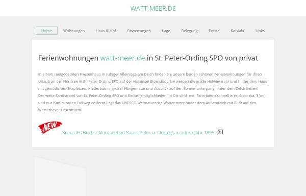 Vorschau von www.watt-meer.de, Ferienwohnungen Frauke Petersen & Dörte Tamm
