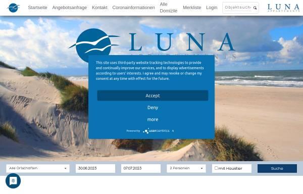 Vorschau von www.luna-appartements.de, Ferienwohnungen in St. Peter-Ording